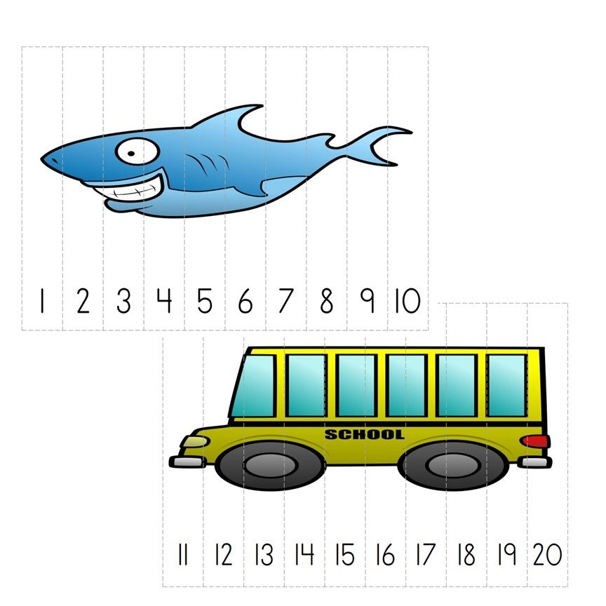 Kindergarten Number Puzzles 1-20