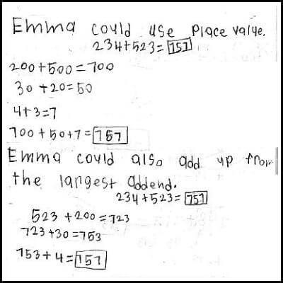2nd Grade Math Journal Task