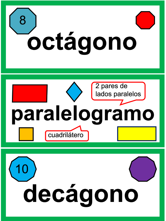 3rd Grade Spanish Math Vocabulary Cards