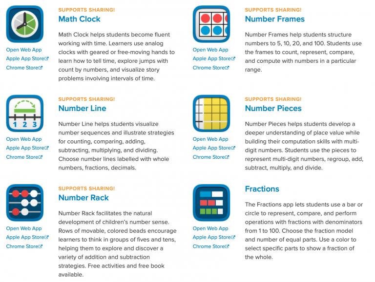 Math Learning Center Virtual Manipulatives