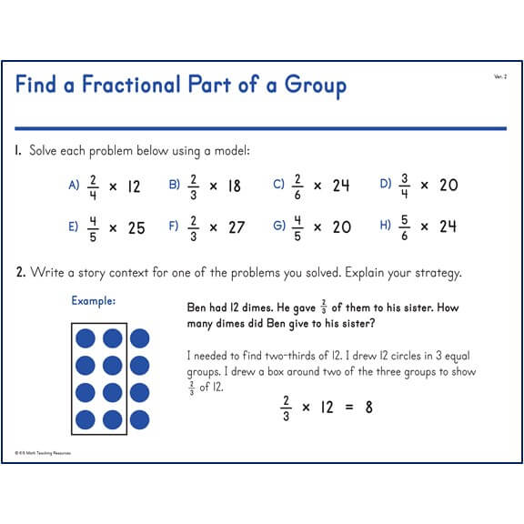 5.NBT.B.4 Find a Fractional Part of a Group