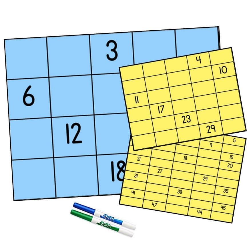 1st Grade Number - 1.NBT.A.1 Missing Number Grids (1-50)