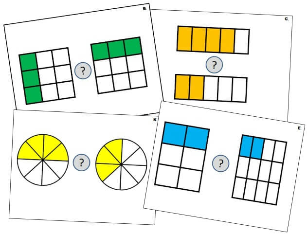 3rd Grade Fractions: Compare Fractions of a Whole (v.1)