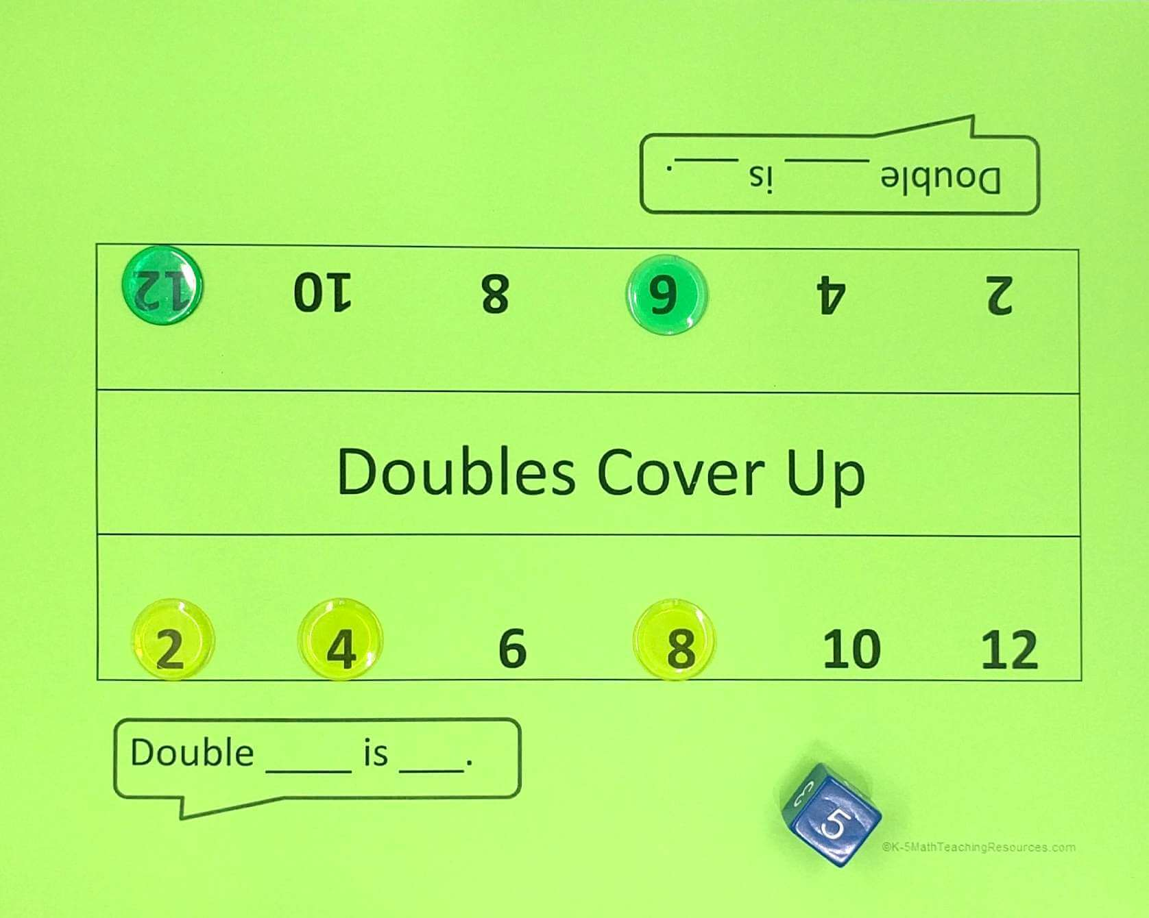 Play Doubles Cover Up (ver.1) to build fluency with doubles facts 1+1 - 6+6
