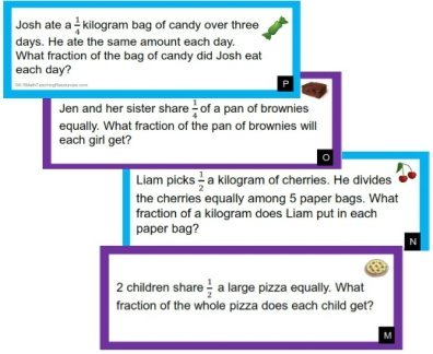 Word Problems: Division with Unit Fractions