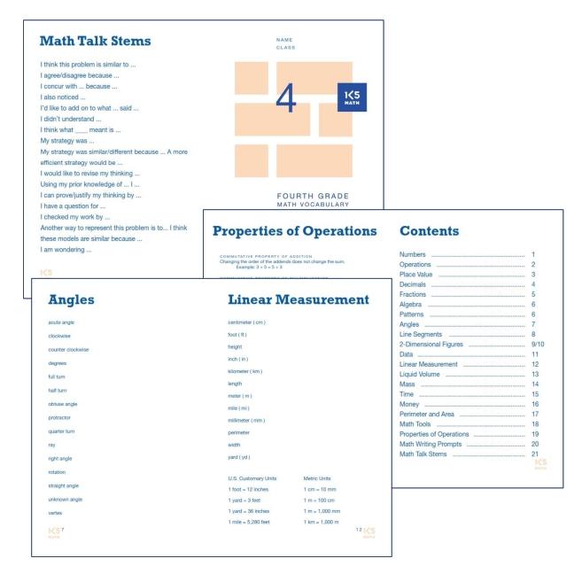 4th Grade Math Vocabulary Book