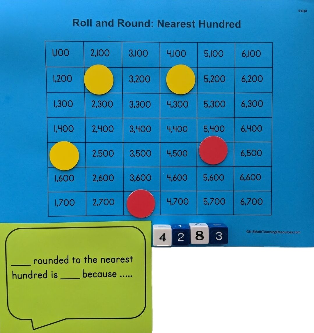 4.NBT.A.3 Roll and Round: Nearest Hundred
