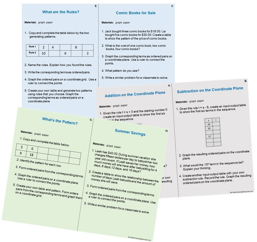 5th Grade Number: Patterns on the Coordinate Plane Task Cards