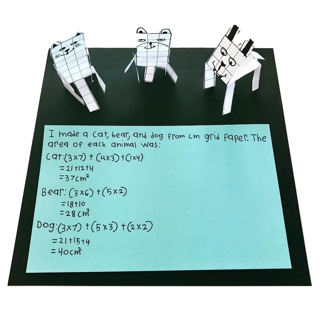 3.MD.C.6 Grid Paper Animals