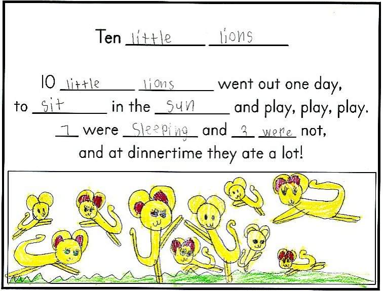 Counting Rhymes: Once children know a rhyme well, and can recite it without help, they are ready to innovate on the text.