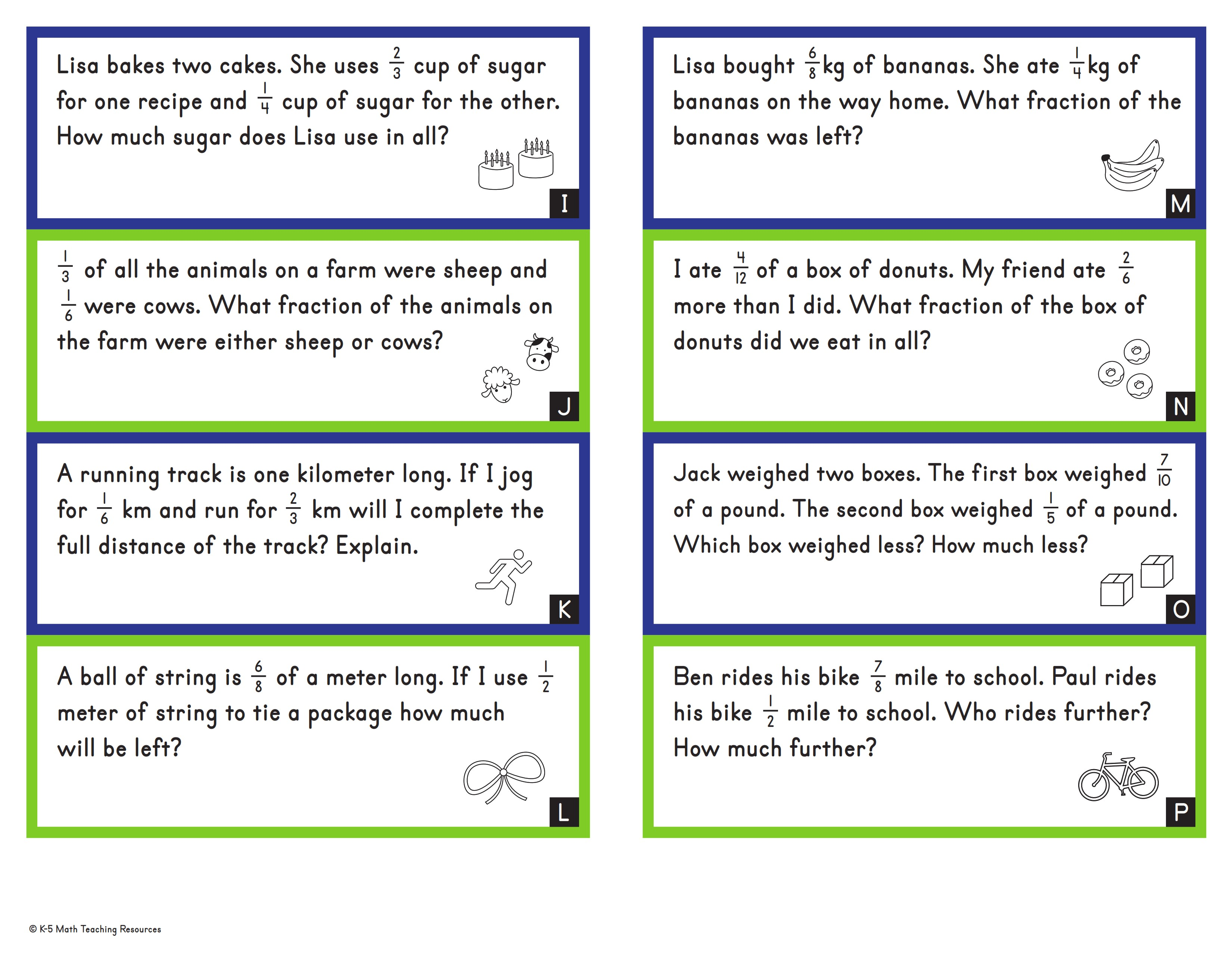 Adding & Subtracting Fractions Word Problems