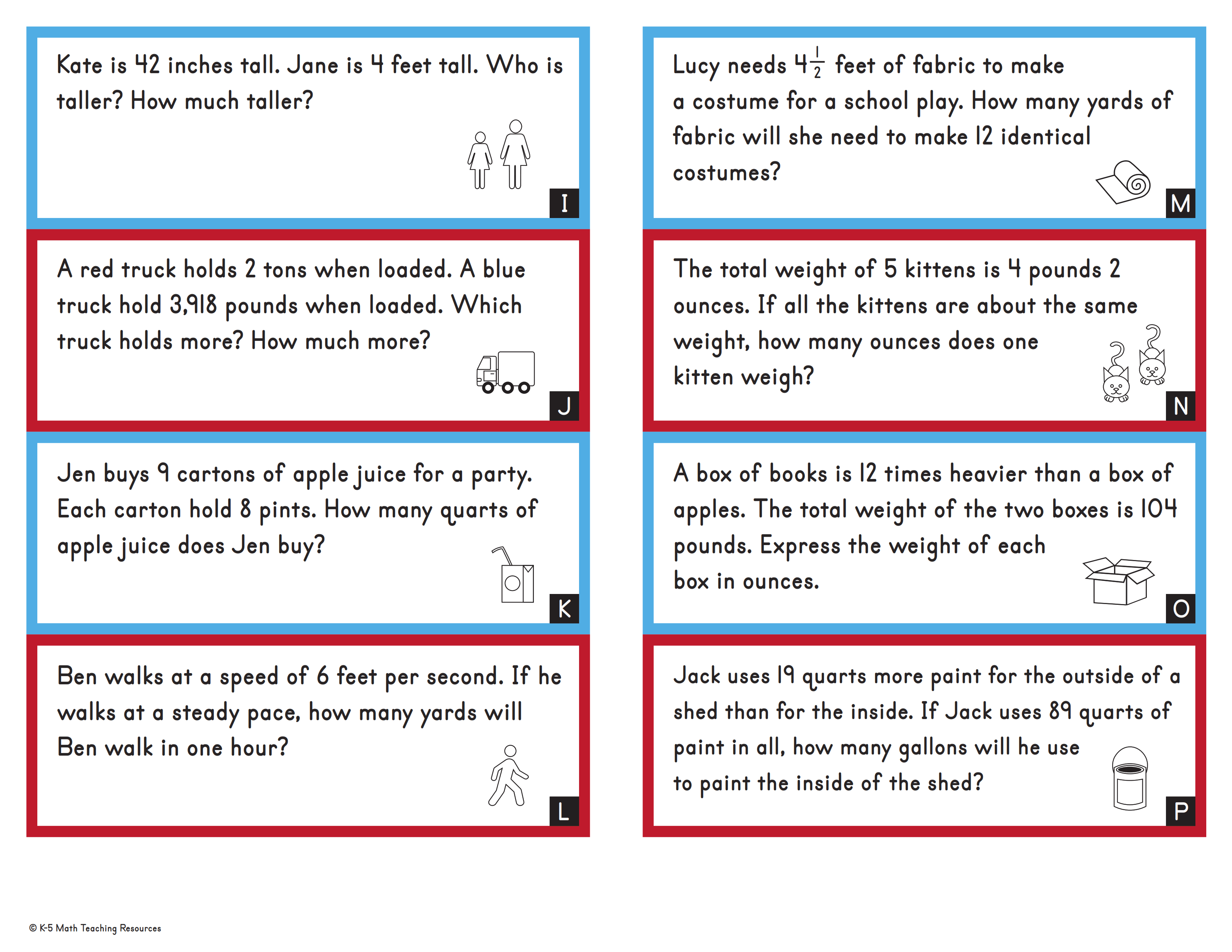 Word Problems: Customary Units Conversions