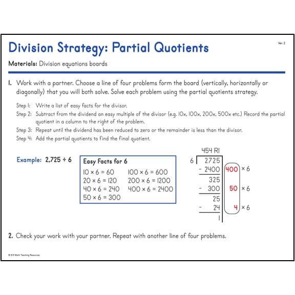 Division Strategy: Partial Quotients