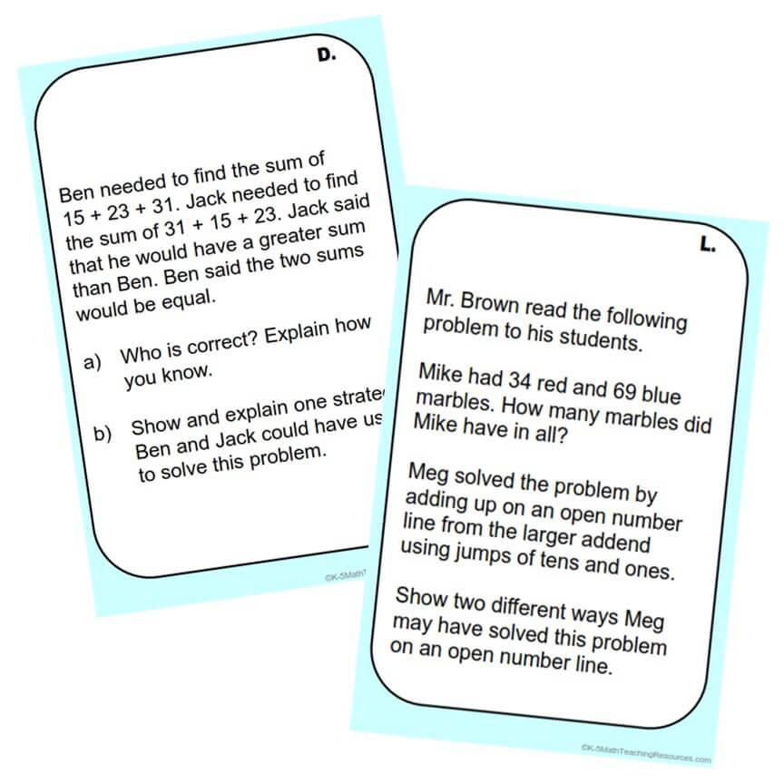 2.NBT.B.9 Explaining Addition and Subtraction Strategies (20 task cards)