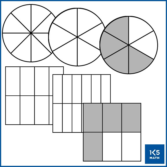 Area Model Fractions clip art in color, grayscale and black and white.