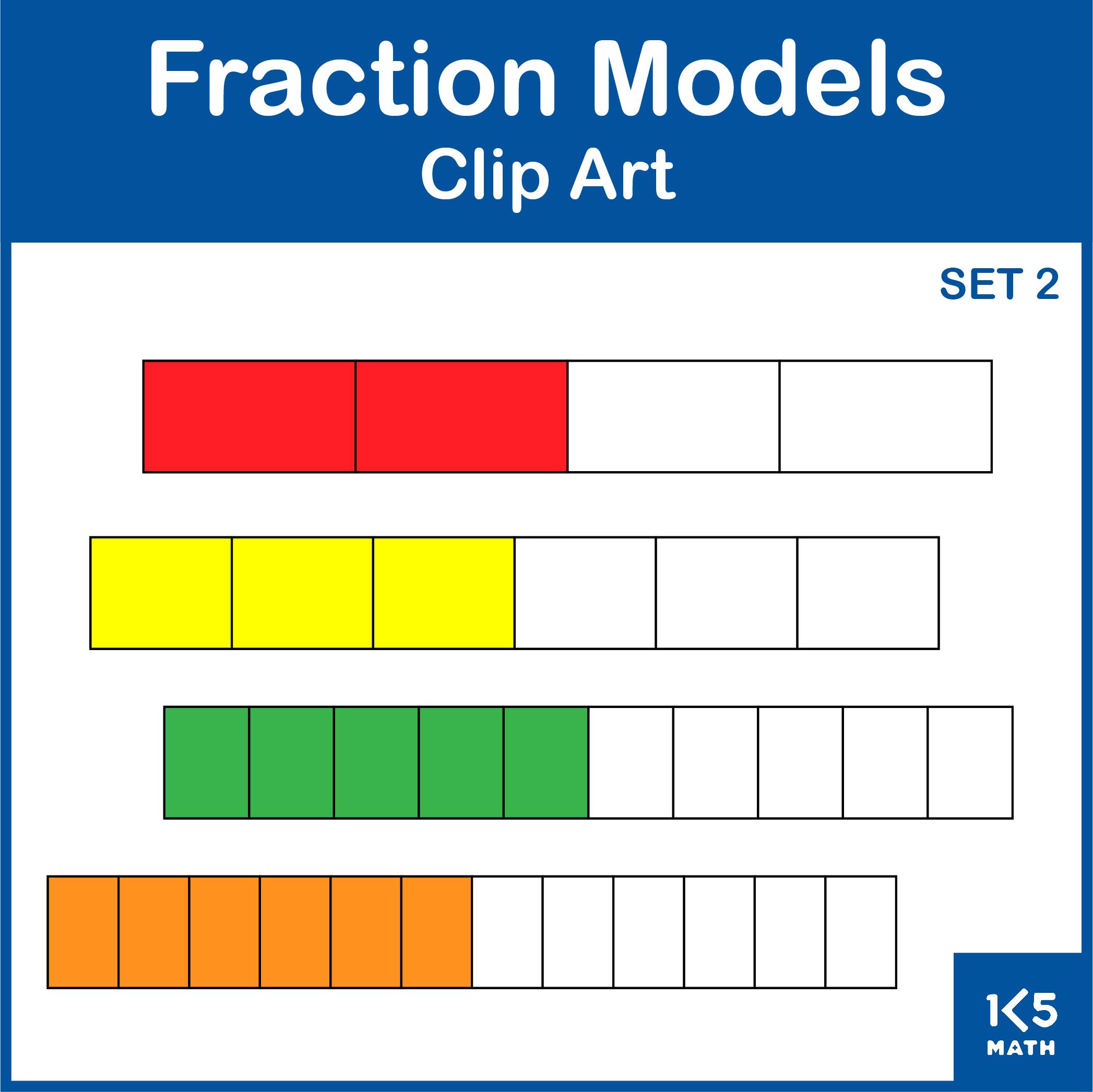 Fraction Models: Set 2 includes fraction rectangles and fraction/decimal number lines.
