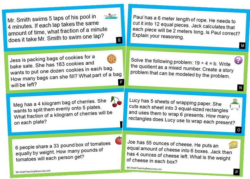 5th Grade Word Problems: Fractions and Mixed Number Quotients