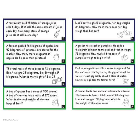 3rd Grade Liquid Volume & Mass Word Problems