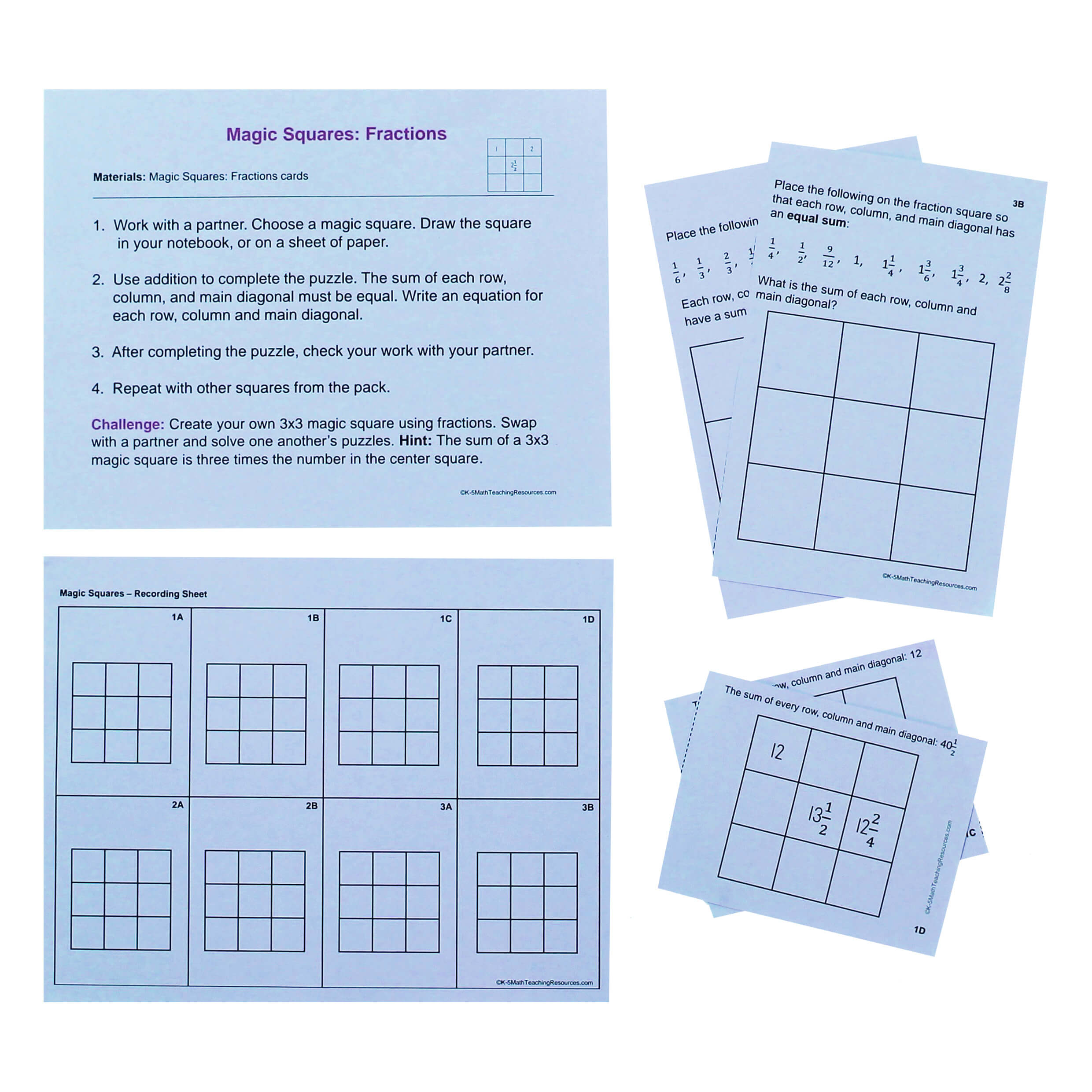 5.NF.A.1 Magic Squares: Fractions