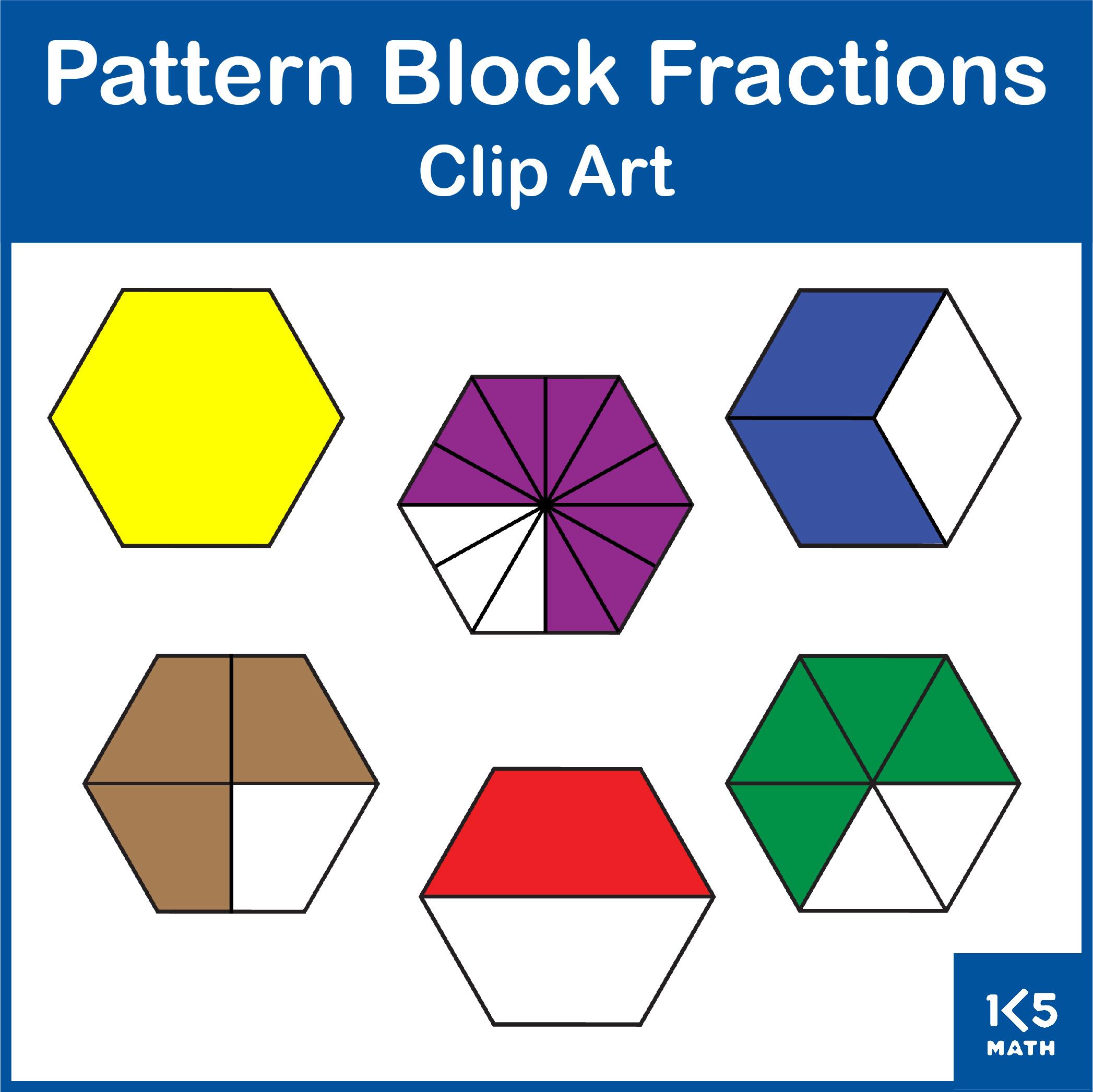 Pattern Block Fractions Clip Art