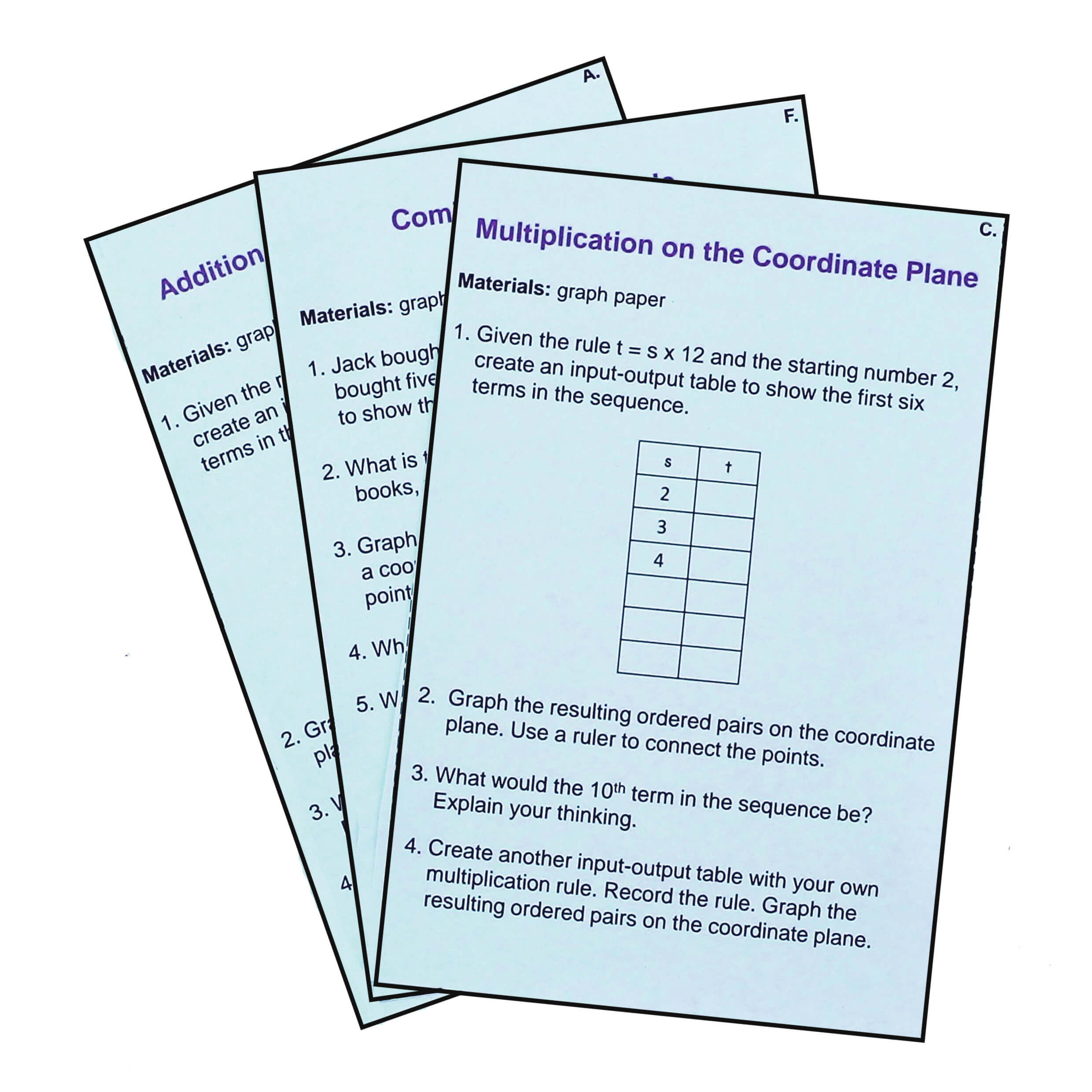 5.OA.B.3 Patterns on the Coordinate Plane Task Cards