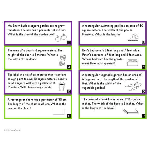 3rd Grade Area Word Problems