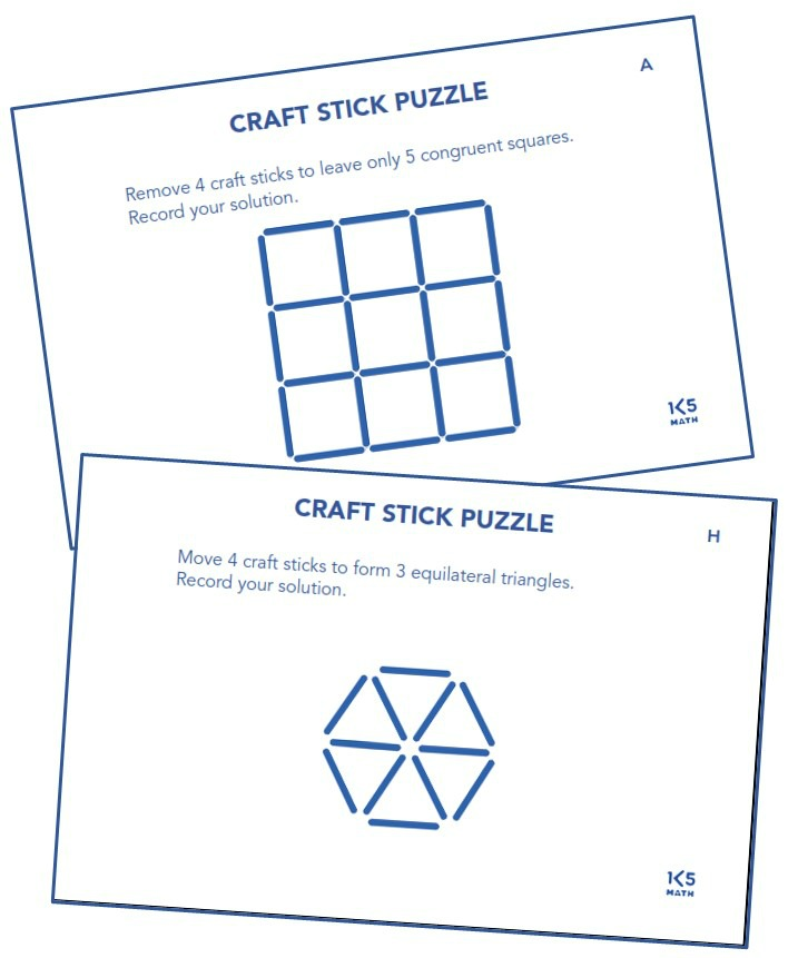 Craft Stick Puzzles from Math Puzzles, Patterns & Explorations