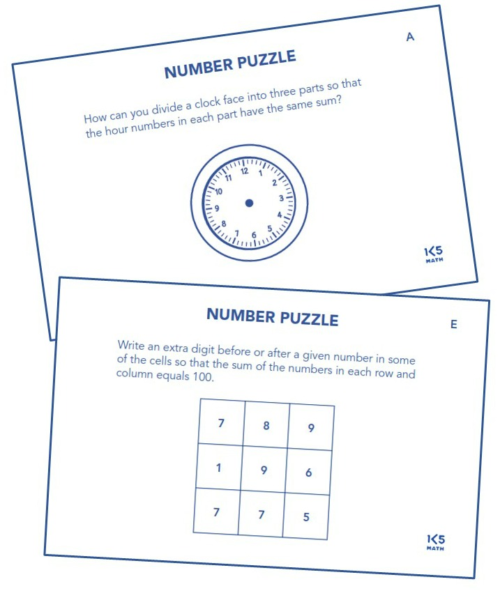 Number Puzzles from Math Puzzles, Patterns & Explorations