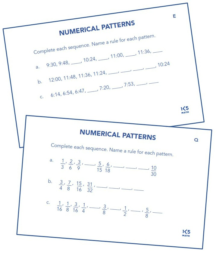Numerical Patterns from Math Puzzles, Patterns & Explorations