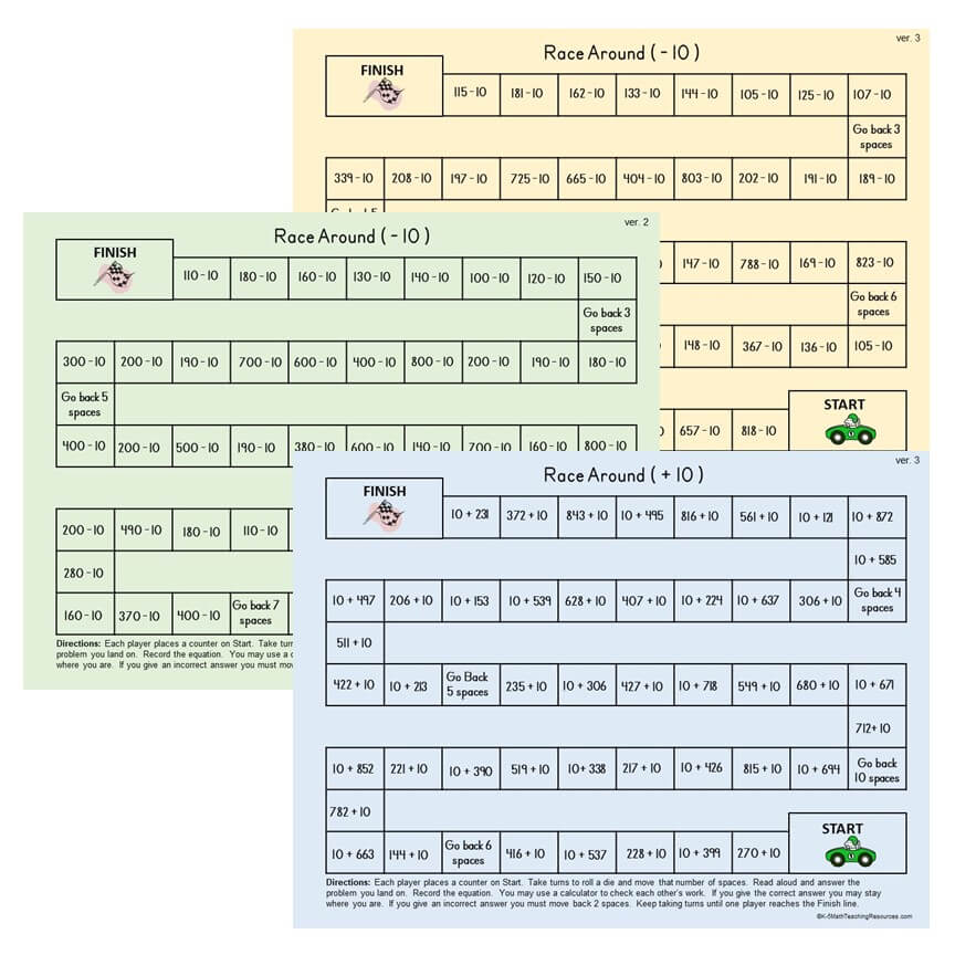 Race Around Games: Add and subtract 10