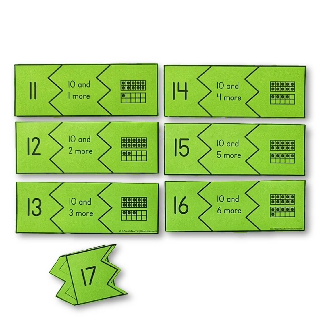 Teen Puzzles: understand that teen numbers are composed of ten ones and one, two, three, four, five, six, seven, eight, or nine ones.
