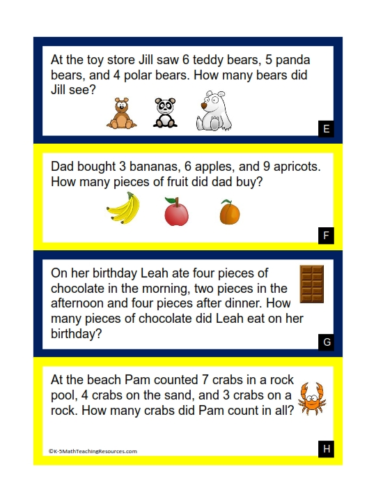Three Addends Word Problems (to 20)