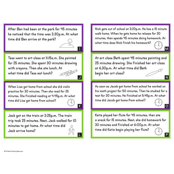 3rd Grade Elapsed Time Word Problems
