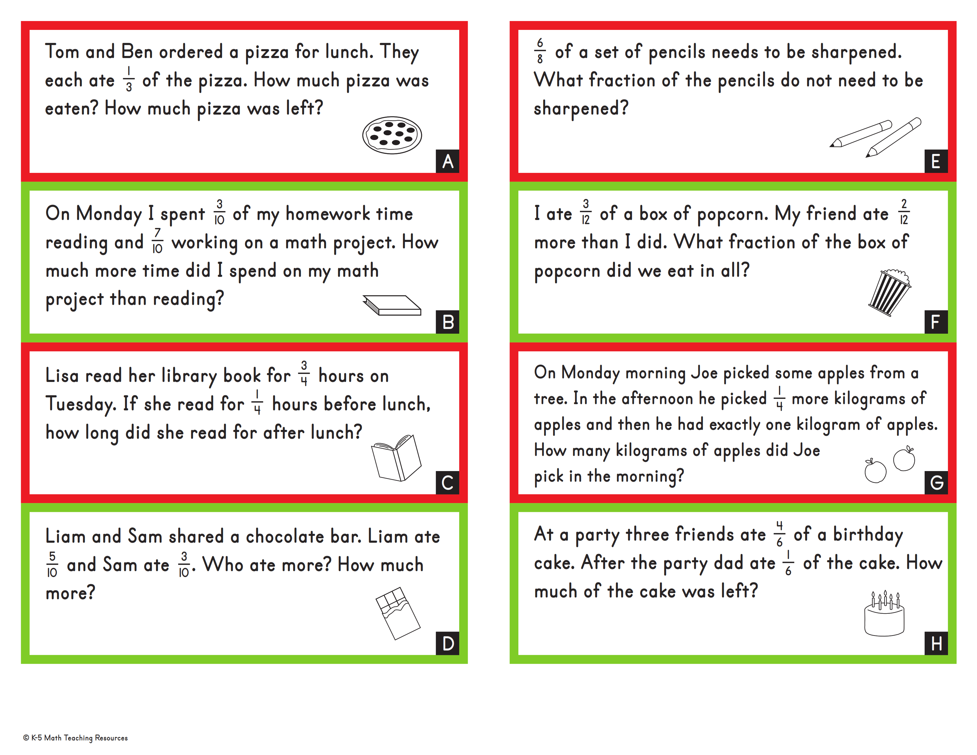 Word Problems: Adding & Subtracting Like Fractions