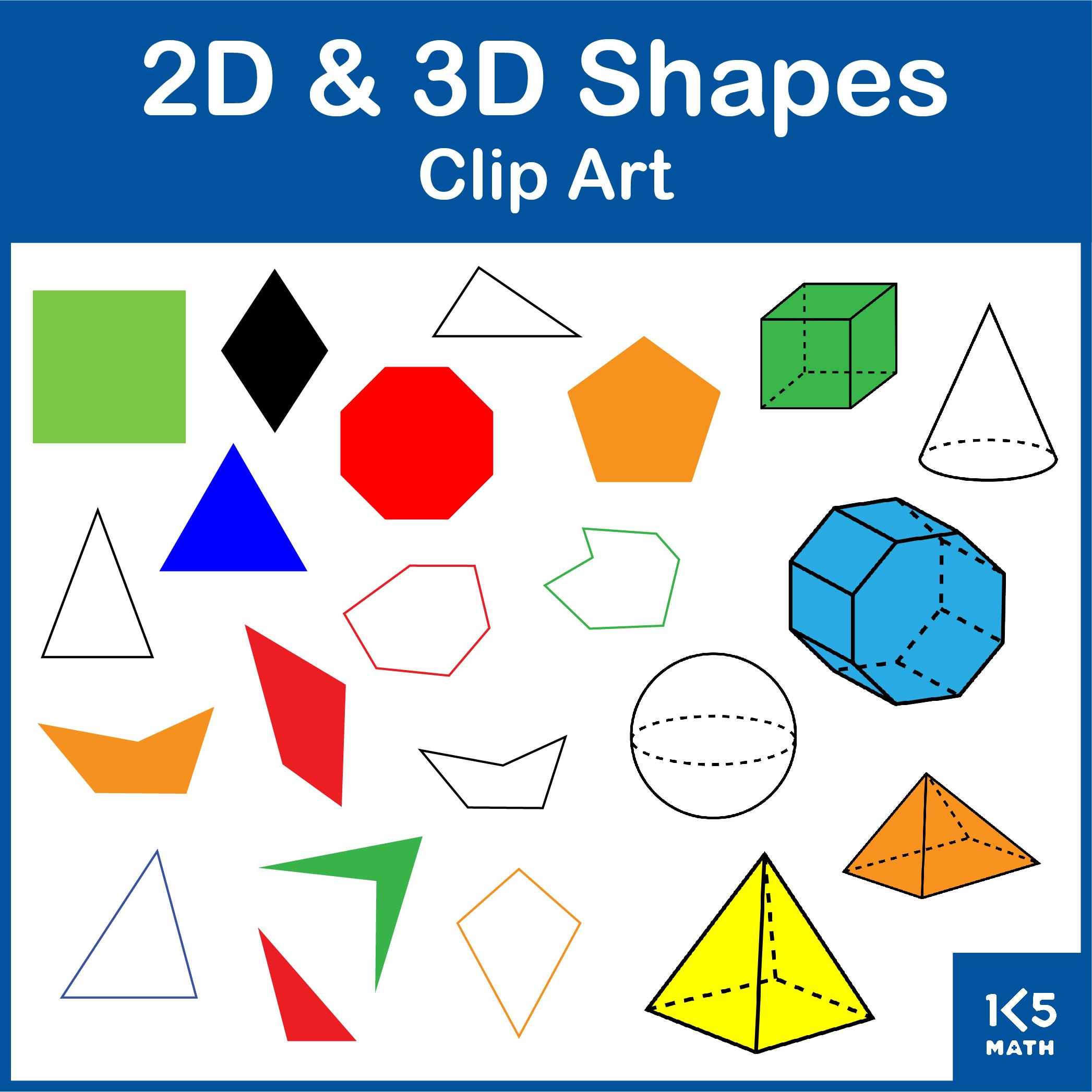 2D and 3D Shapes Clip Art Set