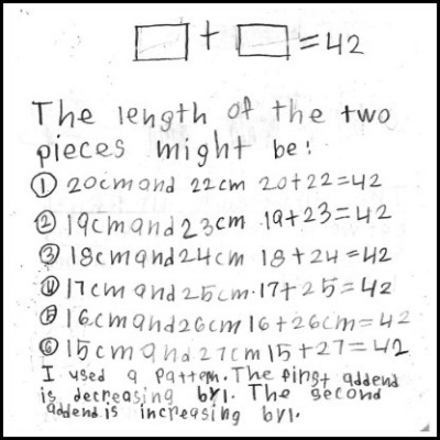 2nd Grade Math Journal Task