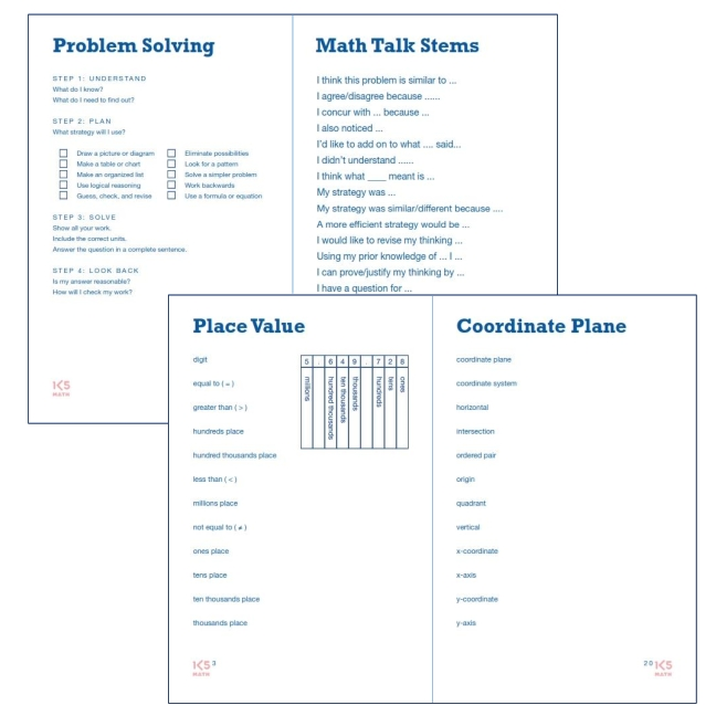 Sample pages from 5th Grade Math Vocabulary Book