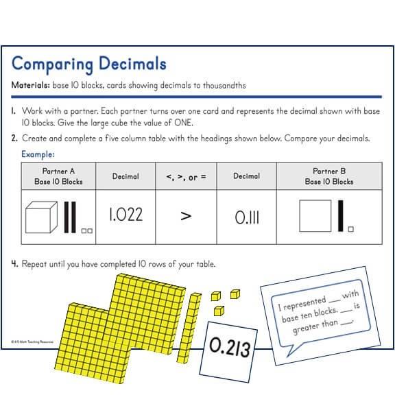 Comparing Decimals to thousandths