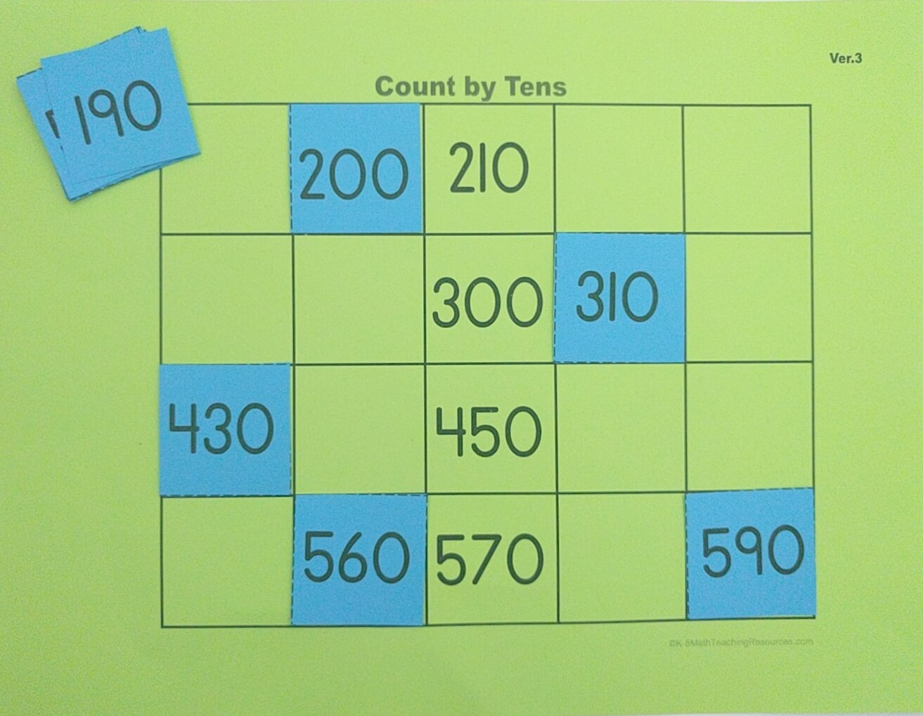 Skip count by tens within 1000 from any number
