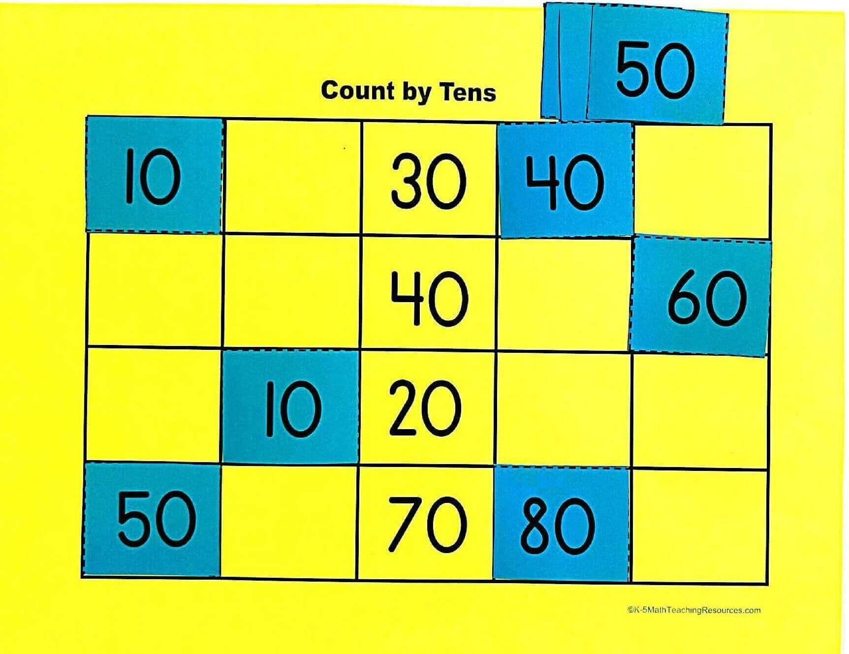 K.CC.A.1: Count by Tens Game