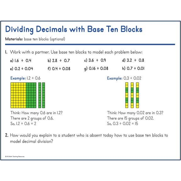 Dividing Decimals with Base Ten Blocks