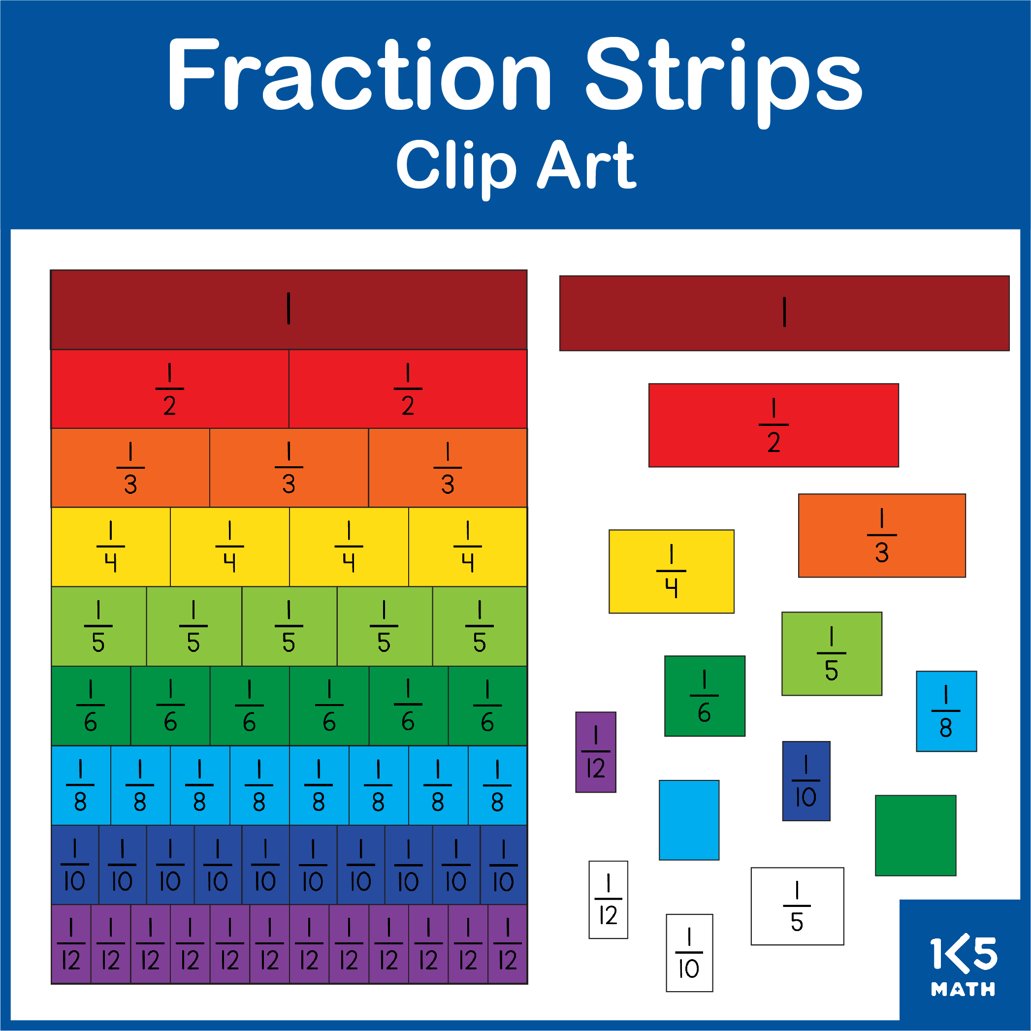 Fraction Strips Clip Art