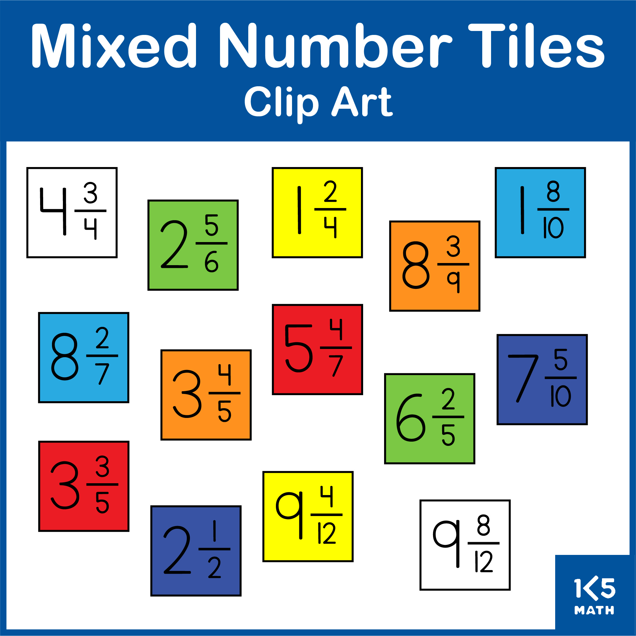 Mixed Number Tiles Clip Art