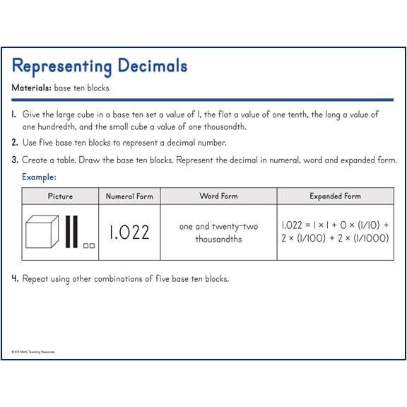 Representing Decimals with Base 10 blocks