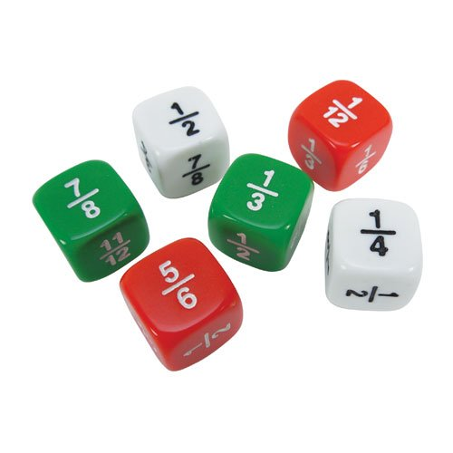 Useful manipulative to use in math centers to develop fraction concepts include fraction dice, dominoes and fraction cards